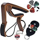 6-String Acoustic and E-Guitar Capo, REAL-EAGLE Quick Change Trigger Capo with 6 Guitar Picks and Guitar Picks Holder Case for Guitar and Ukulele (Wood Grain) (Capo)