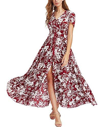 Gzbinz Womens Summer Beach Button up Split Long Floral Casual Vintage Maxi Dress