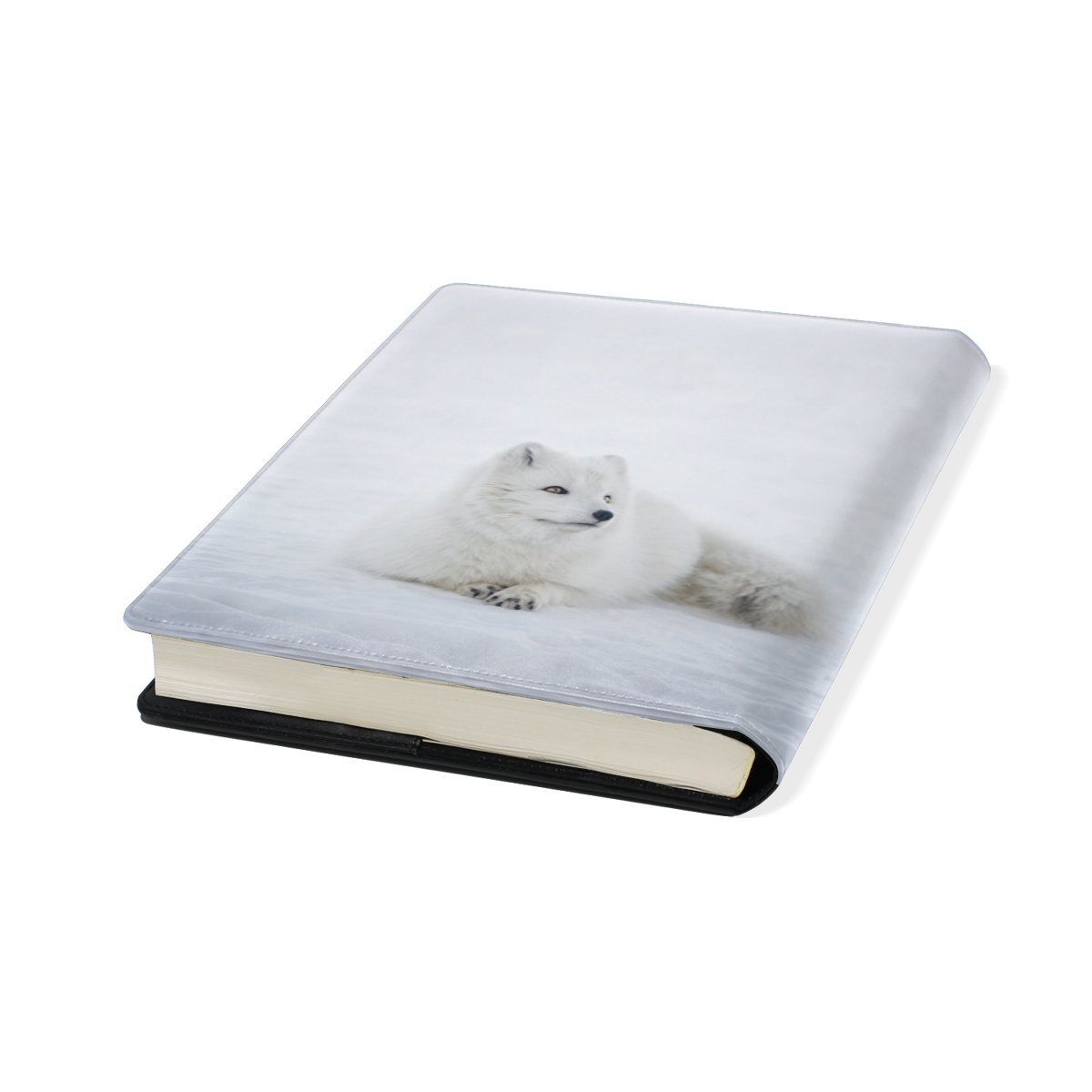 White Fox Stretchable Leather Book Covers Standard Size for Student Hardcover Textbooks Fits up to 9x11-Inch for School Girls Boys Gift