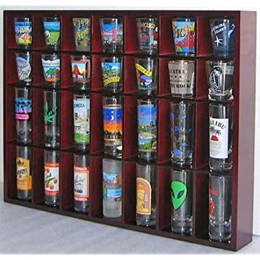 28 Shot Glass Shooter Display Case Holder Cabinet Rack, solid wood, NO Door, Wall Mount, Mahogany Finish