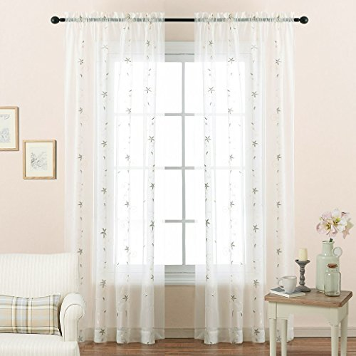 Sturdy Net Trellis (Voile Sheer Curtains 63 Inch Length - Floral Embroidered Sheer Window Curtains / Drapes for Nursery Room by NICETOWN (2 Pieces, W60 x L63, Ivory))