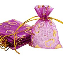 Organza Gift Bags Pouches with Drawstring, Heart, Fuchsia, 7x9cm, Pack of 12 pieces