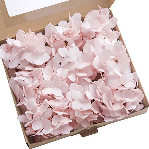 Ling's moment Vintage Artificial Hydrangea Flowers Blush 9pcs for Wedding Bouquets Centerpieces Arrangements DIY Holiday Party Home Décor