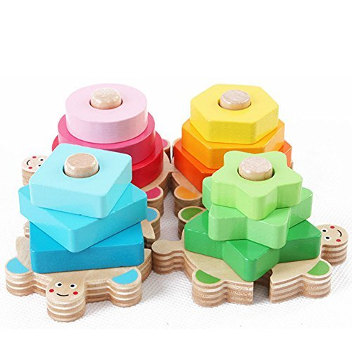 AxiEr Wisdom Boutique Colorful Plate,Geometric Building Blocks Quill Wooden Toys,Kids Toddler Children Wooden Stacking with 4 Columns Building Blocks (Beaded Domino)