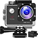 Victure Action Camera WiFi 1080P Full HD 12MP Underwater Cam 2 Inch LCD 170 Degree Wide-Angle 30M Waterproof Sports Camera with 2 Rechargeable 1050mAh Batteries