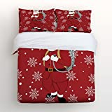 Libaoge Red 4 Piece Bed Sheets Set, Cool Cartoon Santa Claus with Gift Bag Winter Snowflake, 1 Flat Sheet 1 Duvet Cover and 2 Pillow Cases