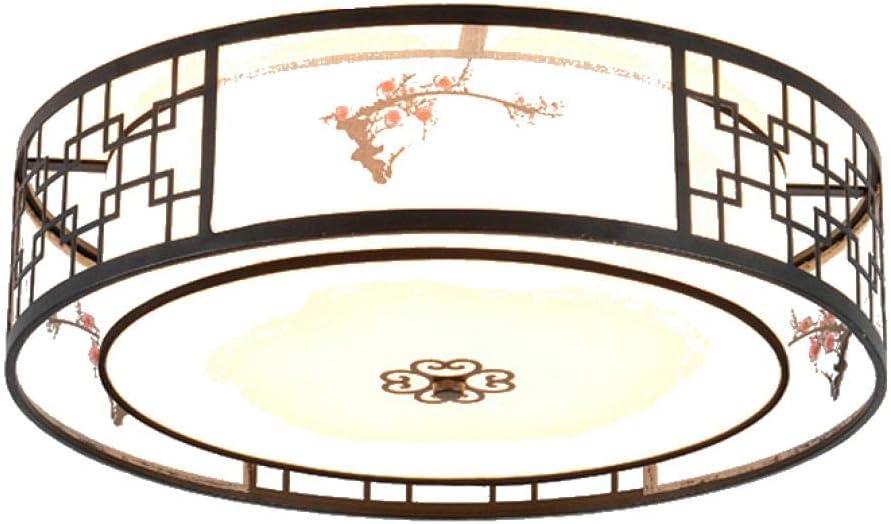 Ventilador De Techo Con Luz Led Y Mando A Dista Ventilador De Techo Con Luz Ventilador De Techo Con Luz Fanaway Ventilador De Techo Con Luz Madera Estilo Chino Redondo 50 * 13Cm_ Luz Blanca