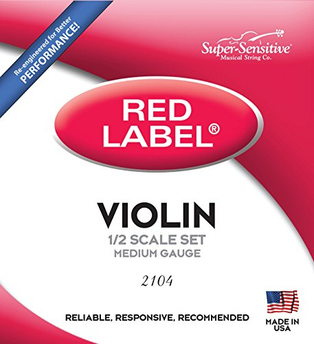 Super-Sensitive 2104 Red Label Orchestra 1/2 Violin Strings, Medium Gauge from Super Sensitive
