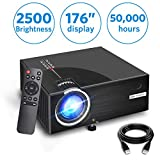 2019 Mini Projector, Full HD 1080P and 176'' Display Supported, 2500 Lux Portable Movie Projector with 50,000 Hrs LED Lamp Life, Compatible with HDMI/VGA/AV Multiple Ports by Aoxun