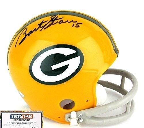 Signed Bart Starr Mini Helmet - Holo Coa - Tristar Productions Certified - Autographed NFL Mini Helmets