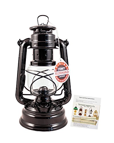 "Feuerhand Hurricane Lantern - German Made Oil Lamp - 10"" with Care Pack (Black)"