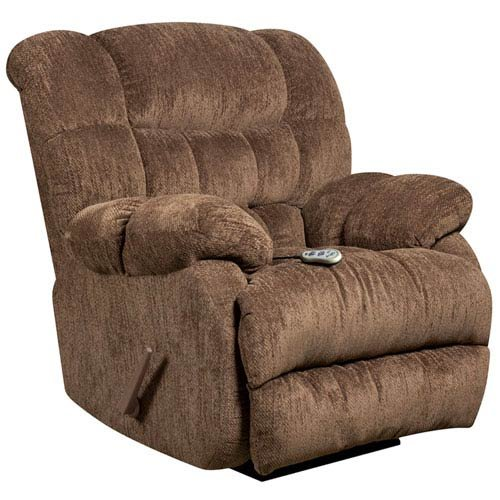 Parkside Massaging Columbia Mushroom Microfiber Rocker Recliner with Heat Control - Mushroom Rocker Recliner