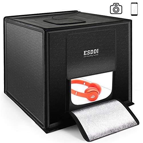 ESDDI Photo Studio Light Box 20quot/50cm Adjustable Brightness Portable Folding Hook amp Loop Professional Booth Table Top Photography Lighting Kit 120 LED Lights 4 Colors Backdrops