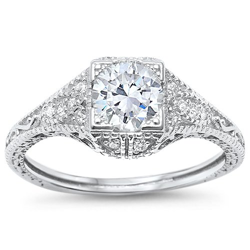 (Antique Style Art Deco Modern Engagement Solitaire Ring Sizes 8)
