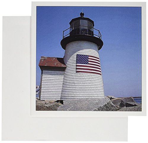 3dRose USA Massachusetts Nantucket Brant Point Lighthouse Greeting Cards, Set of 12 (gc_190219_2)