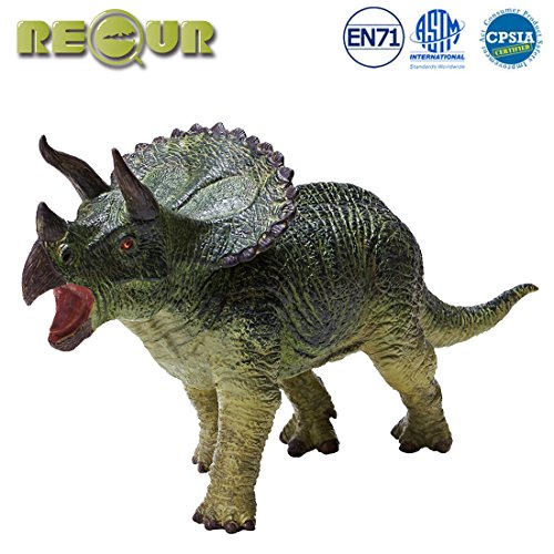 RECUR Triceratops Dinosaur Jurassic Toys, Hand-Painted Dinosaur Toy Figurine Model- 9.4inch Realistic Jurassic Dinosaur Action Figures 1:35 ,Ideal Prehistorical Collectibles Boys Gift , Ages 3 and Up