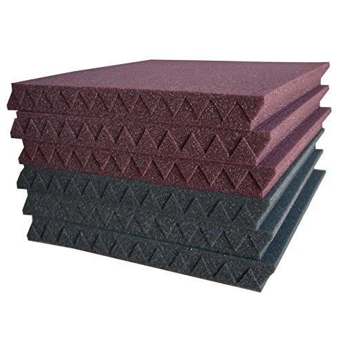 24 Pack- Charcoal Acoustic Panels Studio Soundproofing Foam Wedges Tiles Fireproof 1'' X 12'' X 12'' by MIUCOO (Image #1)