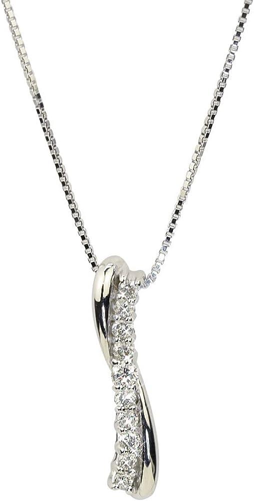 [四葉のクローバー] スイートテン ダイヤモンド ネックレス 10金 0.1カラット 調節可能な 45㎝ スライドチェーン K10 ホワイトゴールド 4月誕生石 :Ma439
