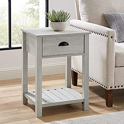 Walker Edison Furniture Company Farmhouse Square Side Accent Set Living Room End Table with Storage Door Nightstand Bedroom, 18 Inch, Stone Grey - 1 drawer farmhouse style nightstand Painted metal half circle handle Open and closed storage - nightstands, bedroom-furniture, bedroom - 51OCsuJRCZL. SS400  -
