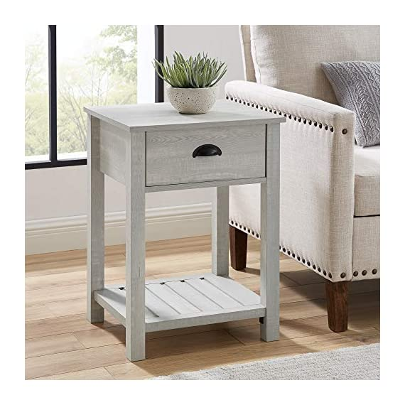 Walker Edison Furniture Company Farmhouse Square Side Accent Set Living Room End Table with Storage Door Nightstand Bedroom, 18 Inch, Stone Grey - 1 drawer farmhouse style nightstand Painted metal half circle handle Open and closed storage - nightstands, bedroom-furniture, bedroom - 51OCsuJRCZL. SS570  -