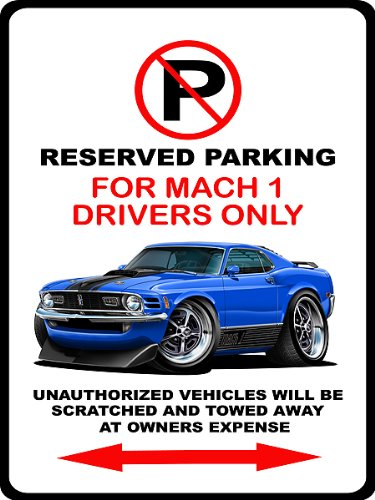 1970 Ford Mustang Mach 1 Muscle Car-toon No Parking Sign