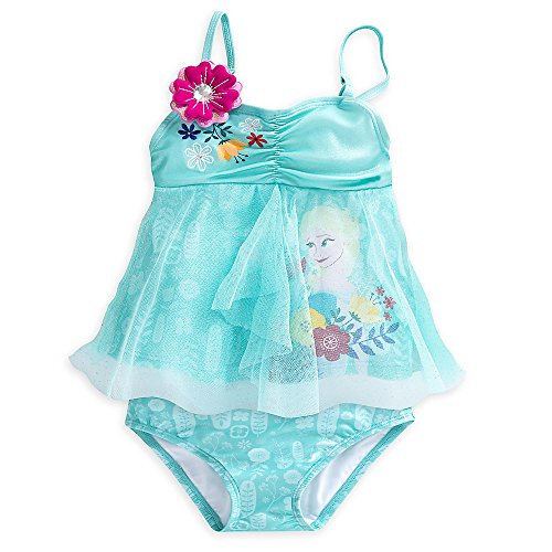 Disney Frozen Elsa Deluxe Swimsuit for Girls - 2-Piece Size 7/8 Blue