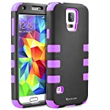 S5 Case,Shockproof Heavy Duty Combo Hybrid Defender High Impact Body Rugged Hard PC & Silicone Case Protective Cover For Samsung Galaxy S5 (Purple)