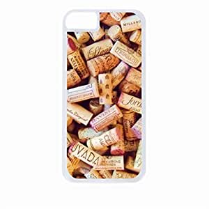 Wine Corks- Case for the Apple Iphone 5s-Hard White Plastic Outer Shell