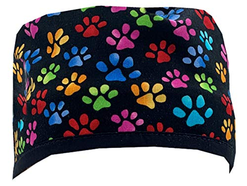 Mens and Womens Surgical Scrub Cap - Multi Color Paws w/Black Ties