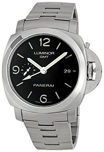 (Panerai Men's PAM00329 Steel Luminor 1950 GMT Black Dial Watch)