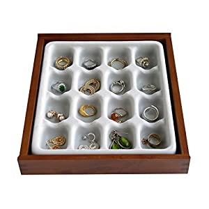 Jewelry Organizer Stack 'em Jewelry Box 16-Compartment Display Tray for Rings and Earrings Axis 2701