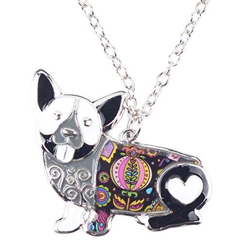 Bonsny Love Heart Enamel Zinc Alloy Metal Corgi Dog Necklace Animal pendant Unique Design (Black)