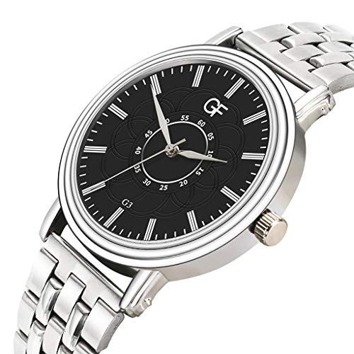 Amazon.com : XBKPLO Quartz Watches Mens Analog Wrist Watch Pointer Light Simple Business Stainless Steel Band Temperament Strap Watch Jewelry Gift : Pet ...