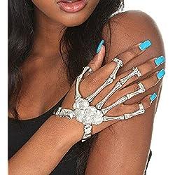 Misscat Fashion Women Hand Chain Skull Fingers Metal Skeleton Slave Bracelet Ring (Silver)