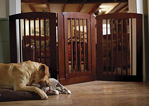 Orvis Three-panel Dog Gate With Door / 36''h Gate, Dark Cherry