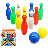 yoptote Bowling Ball Set Toddler Toy Bowling Game with 10 Mini Plastic Pins and 2 Balls Party Favors Great Gift for Baby Kids Boys Girls 2 3 4 Years