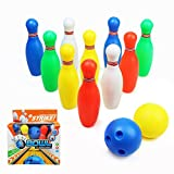 Yoptote Bowling Games Bowling Ball with 10 Pins Indoor Outdoor Skittles for Kids over 3 Years Old (Medium)