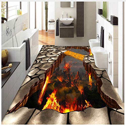 Custom Flooring Mural Wallpaper Lava Stone Magma 3D Stereoscopic Floor Sticker Painting PVC Self-Adhesive Waterproof Wallpaper 400x280cm