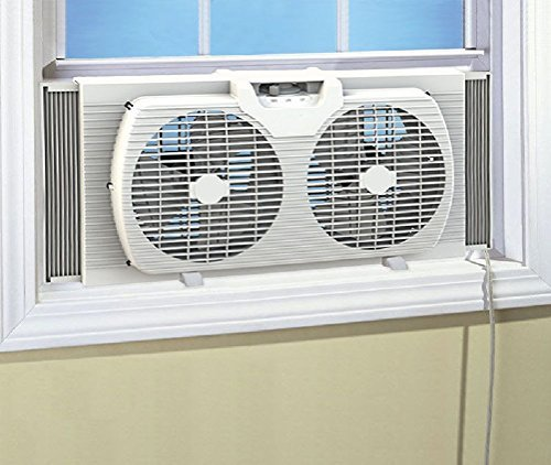 Likimen Dual Blade 9-Inch Twin Window Fan with Cover Portable White by Likimen Home Series