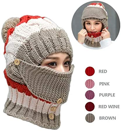 8eb9ab8e02b Amazon.com  NEEDOON 3 in 1 Winter Scarf Hats Mask Set for Women ...