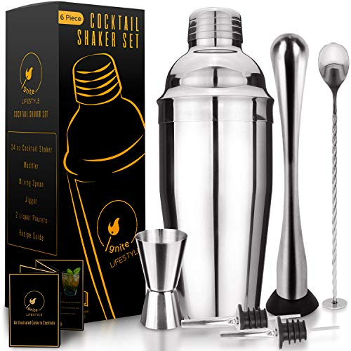 Ignite Lifestyle Cocktail Shaker Set - Easy to Clean 24oz Martini Shaker, Recipe Book, Muddler, Mixing Spoon, Measuring Jigger, 2 Liquor Pourers - Drink Shaker For Bartending/Home Bars - Bartender Kit