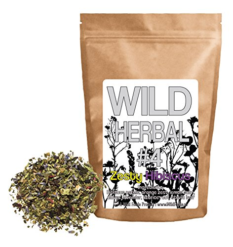Wild Herbal #4 Zesty Hibiscus Tea Blend by Wild Foods - 7 Ingredient Tea with Hibiscus, Orange zest, Lemon Balm, Cloves, Lavender, Licorice Root, Stevia, 100% Natural (8 ounce)