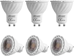 GU10 LED Bulb DiCUNO 6W 600LM 60W Halogen Equivalent Warm White 3000K AC100-240V Non-dimmable Energy Saving Lamp 6-Pack