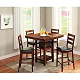 Elegant 5-Piece Counter Height Dining Set, Mocha, Padded Black Seats Offer Comfort For Both Children and Adults, Wood Construction, Looks Great in Your Kitchen, Breakfast Nook or Dining Room
