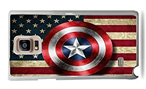Trendy Accessories Captain America Shield USA Flag Design Pattern Print Cover White Silicone Case for Galaxy Note 4