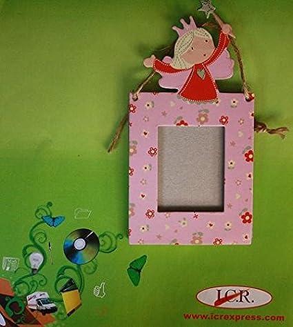 MINI MARCO DE FOTOS INFANTIL COLOR ROSA CON HADA: Amazon.es: Oficina y papelería
