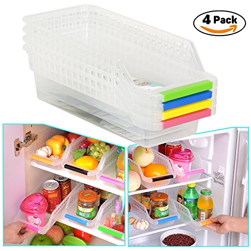 HapiLive Refrigerator Durable Storage Organizer Fruit Handled Kitchen Collecting Box Basket Rack Stand Basket Container (4 Pcs)