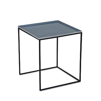 Homy Beistelltisch Metall Kunststoff Quadratisch L Tischplatte Grau