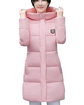 Mujer Abrigos Plumas Largo Chaquetas Invierno Parkas Cálido Cazadoras Pink S deefcf0eb4e8