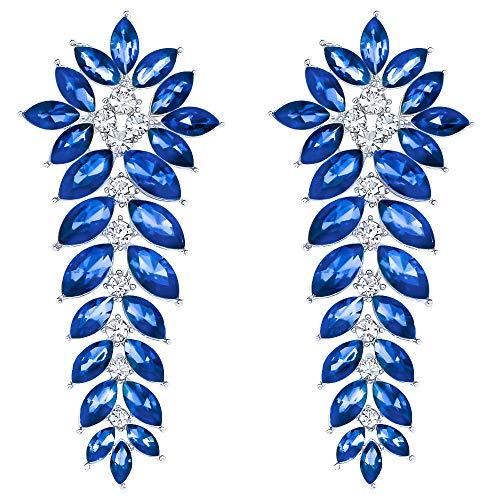 Women Long Chandelier Earrings Sparkling Crystal Rhinestone Jewelry Cluster Leafs Drop Dangle Earrings